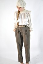 cream blouse - olive green pants