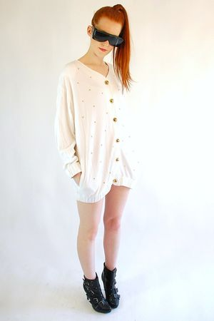 white cardigan