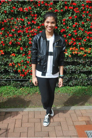 faux leather Forever 21 jacket - cross DIY top - Converse sneakers