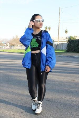 blue windbreaker Bike jacket - chartreuse crop top Forever 21 shirt