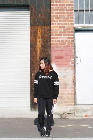 black japanese H&M sweater - black running Adidas pants