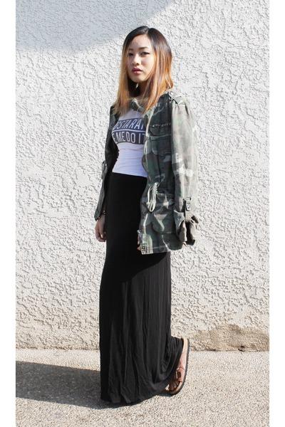 c6a8e2839b7454 maxi skirt cotton on skirt - camouflage PacSun jacket - crop top PacSun  shirt
