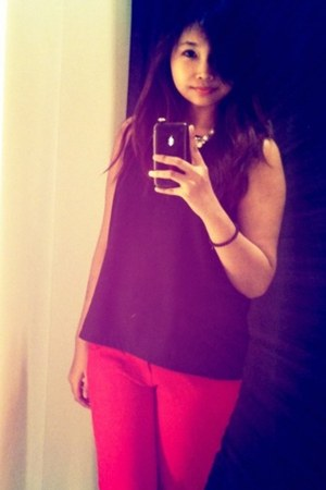 red Bebe pants - pearls  diamond necklace - black Forever21 top