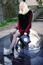 black Givenchy bag - gray Toga Pulla boots - maroon Helmut Lang dress