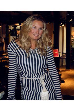 blue acne dress - white Self Made belt - silver Camilla Prytz necklace