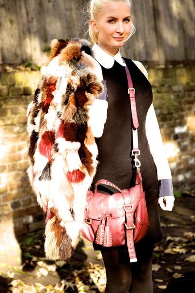 red fur vintage vest - black H&M dress - brick red leather Mulberry bag
