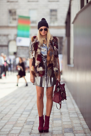 fur vintage vest - Nelly boots - BCBG Maxazria dress - Liberty hat