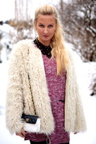 white sheep fur Bought at market jacket - brick red Miss Selfridge dress