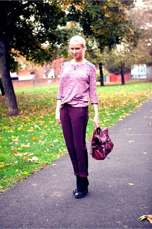 maroon Mulberry bag - maroon Miss Selfridge jumper - maroon SANDRO pants