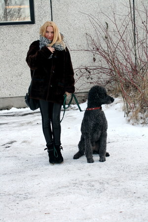 dark brown vintage jacket - black Carin Wester shoes - black J Dauphin scarf - g