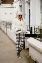 white faux fur DKNY jacket - white leather Chanel bag - dark gray Topshop pants