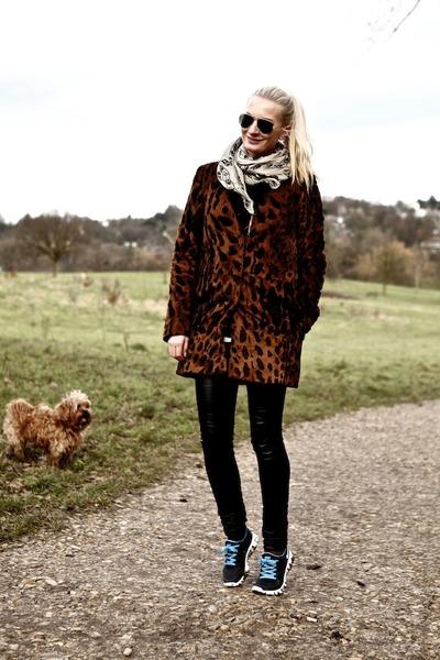 brown faux pony fur asos coat - white chiffon Alexander McQueen scarf