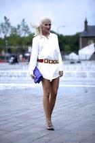 white H&M shirt - magenta PROENZA SCHOULER bag - black Valentino heels