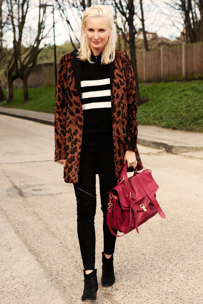 brown asos coat - black Isabel Marant boots - red PROENZA SCHOULER bag