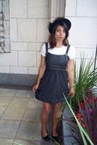 navy denim Target dress - black Target hat - black moccasins BP flats