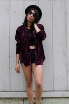 magenta vintage top - black DIY shorts