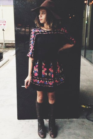 brown leather Frye boots - black floral free people dress