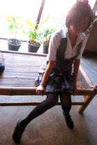 black skirt - black shoes - white blouse - gray vest