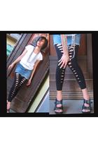black shoes - black leggings - white blouse