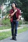 Black-boots-dark-gray-jeans-black-beanie-hat-ruby-red-tartan-shirt