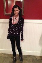 moth sweater - Mia boots - dark wash Delias jeans - American Eagle scarf