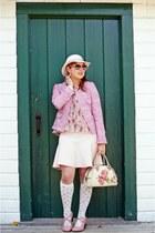 pink tweed jacket - off white wool hat - beige bowler terry bag