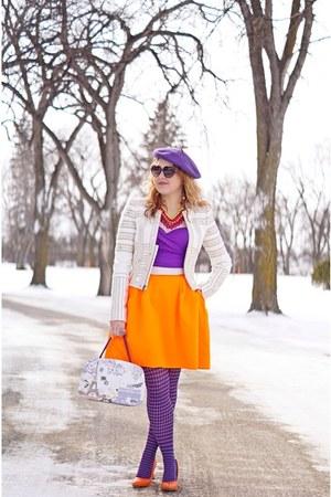 purple tights - deep purple hat - ivory jacket - orange skirt