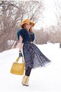 Light-yellow-boots-gold-hat-teal-jacket-mustard-bag