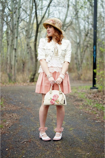 tan victorian handmade hat - light pink denim Jessica Simpson jacket
