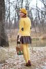 Mustard-owl-print-kensie-sweater-mustard-beret-forever-21-hat