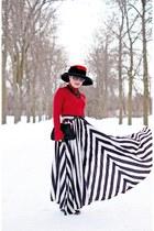black maxi skirt skirt - ruby red wool hat - white belt - black leather heels