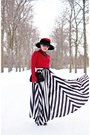 Ruby-red-wool-hat-white-belt-black-maxi-skirt-skirt-black-leather-heels