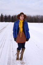 blue danier jacket - olive green Fluevog boots - brown Tony Chestnut dress