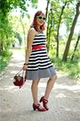 Black-striped-bcbg-max-azria-dress-red-apple-diy-hat