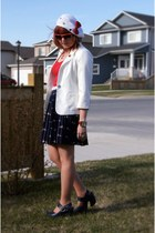 navy Forever 21 skirt - white hello kitty hat - white Forever 21 blazer
