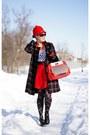 Black-plaid-coat-red-wool-riding-hat-hat-black-plaid-tights-red-purse