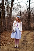 silver swan bag - light purple leather spats boots - periwinkle wool hat