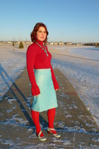 light blue leather pencil danier skirt - red Concrad C top
