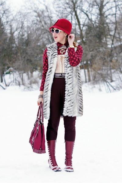 brick red polka dot Joe Fresh blouse - light pink Fluevog boots