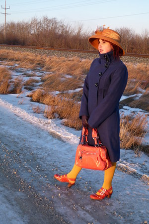 mustard wool Farbella hat - blue wool Jessica coat - carrot orange Nine West bag