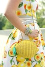 Yellow-lemon-print-dress-yellow-lemon-wicker-bag-chartreuse-bracelet