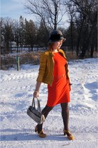 carrot orange H&M dress - charcoal gray vintage hat