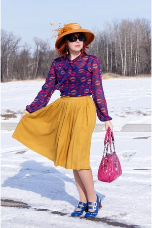 mustard Forever 21 skirt - mustard wool feathers Farbella hat