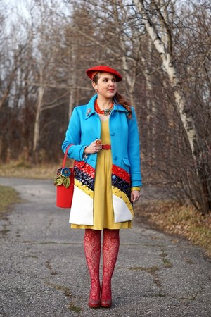 sky blue Choies coat - mustard dress - red wool beret hat - red flowerpot bag