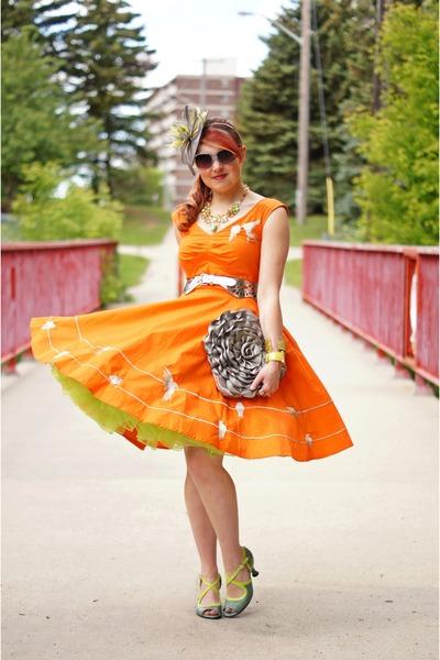 Orange Dress Lime Green Fascinator Hat Silver Clutch Bag Belt