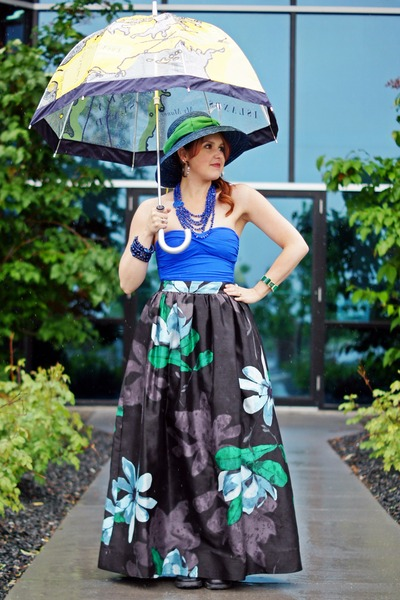 blue swimwear - blue straw hat - yellow umbrella accessories
