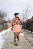 pink blouse - olive green boots - dark green hat - salmon tights - eggshell bag
