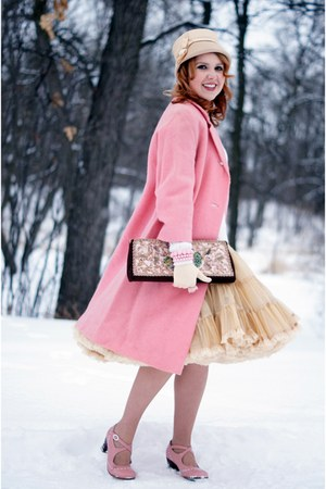 pink leather Fluevog heels - bubble gum wool vintage coat - nude vintage hat