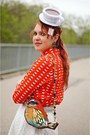 White-tea-cup-hat-red-bird-bag-red-cotton-printed-blouse