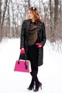 Black-brocade-coat-black-ice-cream-diy-hat-hot-pink-leather-purse